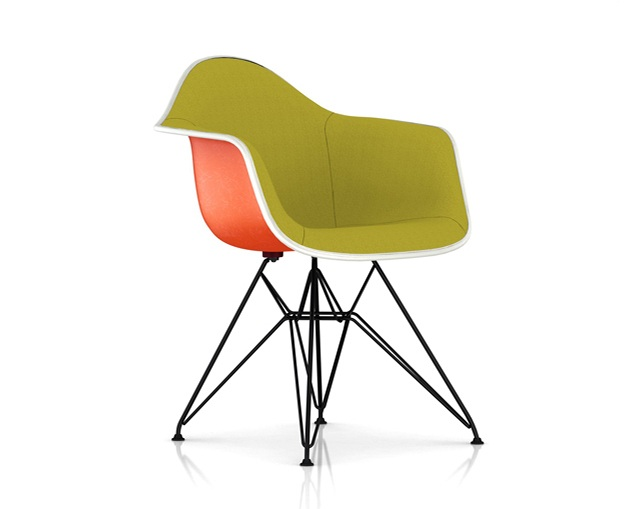 Herman Miller Eames Upholstered Molded Fiberglass Armchair Wire Baseのメイン写真