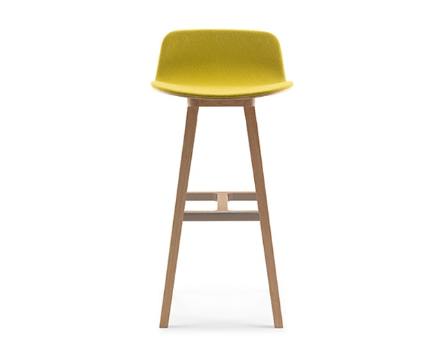ALKI Stool: front in fabric / leather - back in woodの写真